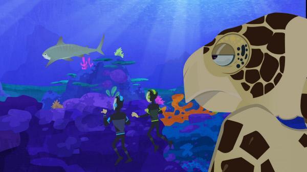 Bild 1 von 6: Chris und Martin beschließen kurzerhand, eine Meeresschildkröte als Vorlage für ihre Tortuga heranzuziehen. Denn sie fänden es schön, wenn ihr Schiff tauchen und schwimmen könnte.