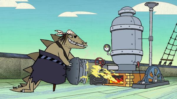 Bild 1 von 4: Auf dem gekaperten Dampfschiff befeuert Stöcki die Dampfmaschine mit Stoppelkinns Spezialsoße.