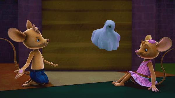 Bild 1 von 5: Das gibt es doch nicht. Das kleine Gespenst spricht wie ihre Freundin Minou. Gibt es etwa gar kein echtes Gespenst hier?