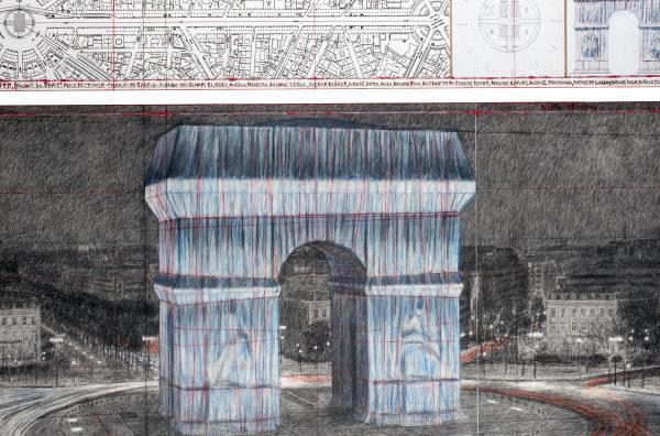 Bild 1 von 6: Den Arc de Triomphe in Paris zu verhüllen, gehört zu Christos frühen Kunstprojekten. Im September 2021 soll es nach seinen Entwürfen umgesetzt werden.