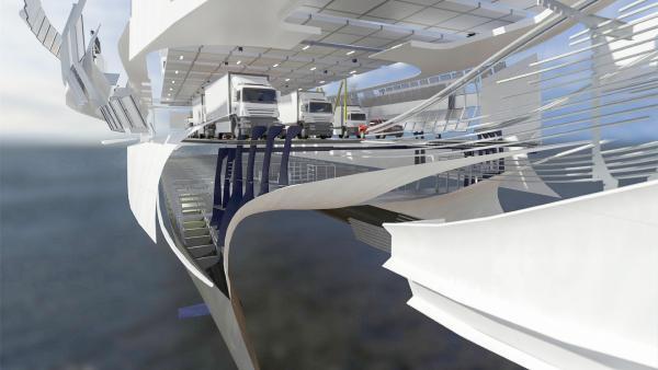 Bild 1 von 5: Vier Motoren mit einer Leistung von mehr als 50 Formel-1-Autos und ein Wasserstrahlantrieb, der ein olympisches Schwimmbecken in 30 Sekunden füllen könnte. Die Autofähre \
