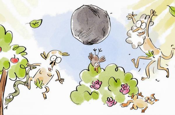 Bild 1 von 2: Vor langer Zeit herrschte im Garten Eden Schwerelosigkeit. Aber seit Adam und Eva in den Apfel bissen, ist die Menschheit dazu verdammt, auf der Erde zu bleiben.