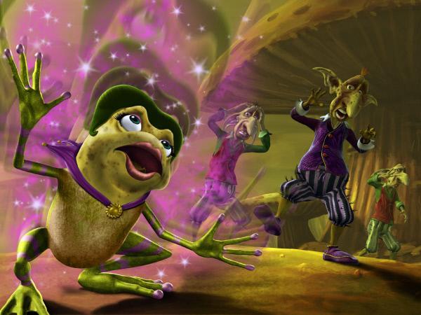 Bild 1 von 11: Die b?se Hexe Laverna hat sich in einen h?sslichen Frosch verwandelt. Ihre Gehilfen sind geschockt.