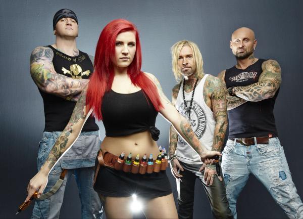 Bild 1 von 10: (1. Staffel) - Die vier Tattoo-Profis (v.l.n.r.) Randy Engelhard, Nancy Mietzi, Mick Mark und Bertram \