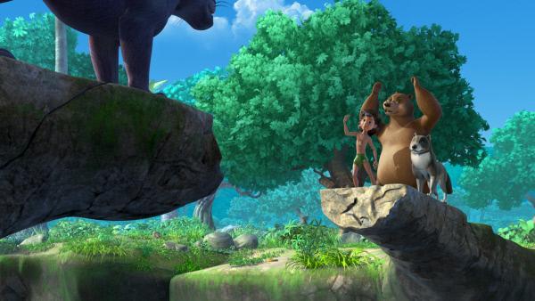 Bild 1 von 6: Welcher Panther steht jetzt da - Kala oder Baghira? Balu, Mogli und Bala hoffen natürlich, dass es Baghira ist.